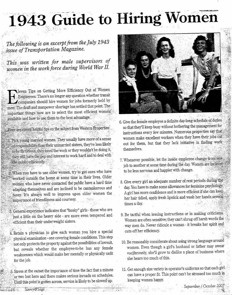 1943_Guide_to-Hiring-Women-article - Guide to Hiring Women in the 1940s - Facts and Trivia